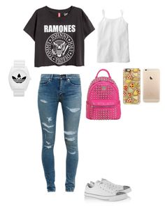 """""""Mia; ready for school"""" by mackenzieandsierra on Polyvore featuring MCM, adidas, Yves Saint Laurent, Casetify and Converse"""