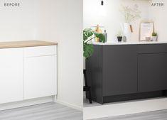GUIDE & VIDEO - STJEL STILEN: Trendy antrasitt kjøkken. Puss opp kjøkkenet med selvklebende folie! Mye billigere enn å kjøpe nytt kjøkken. www.lindasdekor.no #lindasdekor #oppussing #inspirasjon #hjem #diy #gjørdetselv #interiør #kontaktplast #selvklebendefolie #folie #dekorplast Cabinet, Ikea, Storage, Furniture, Home Decor, Madness, Modern, Clothes Stand, Purse Storage