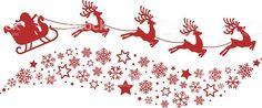 Santa Sleigh Reindeer Flying Snowflakes Red Silhouette stock ...