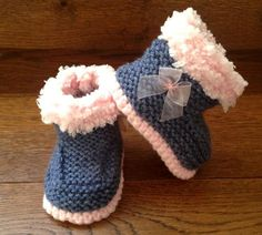 Baby Girl Hand Knitted Booties/Boots/Slippers Pink Bow & Denim Soft Tops  0-12M