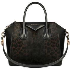 Rosie Huntington-Whiteley wearing Givenchy Antigona Small Leopard-Print Calf Hair Satchel Bag Chocolate.
