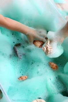 Under the sea Soapy Sea Foam Sensory Play - Twodaloo