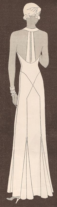 """Butterick 4409 featured in Delineator March 1932:    """"The bride is dressed in white satin with a waist-length jacket that is mostly sleeves, concealing the fact that her dress is one of the newest evening gowns - she'll snip off the train after the important occasion."""" """"The halter neckline is a new one -for evening gowns, for tennis dresses, for bathing suits. In this ... evening gown it is supplemented by two vertical straps. A brief jacket goes with the dress."""""""
