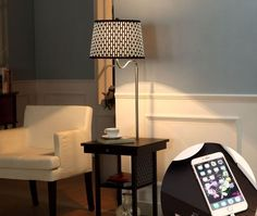Small End Table with Lamp Attached and Storage 2 USB Ports 2 Shelves Stand Floor #Brightech