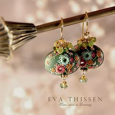 VERBENA beautiful hand made hand appliqued polymer clay earrings by Eva Thissen Gallery, via Flickr