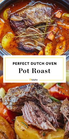 How To Cook Classic Beef Pot Roast in the Oven - This easy Dutch oven beef pot roast recipe could not be a better option for a large family dinner o - Dutch Oven Pot Roast, Beef Pot Roast, Beef Gravy, Dutch Oven Cooking, Pot Roast Recipes, Cooking Recipes, Healthy Recipes, Roast In The Oven, Crockpot Recipes