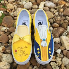 KIDS Hand Painted Beauty and the Beast inspired canvas shoes- made to order - Vans - Shoes Custom Vans Shoes, Custom Painted Shoes, Painted Vans, Painted Canvas Shoes, Hand Painted Shoes, Custom Converse, Disney Painted Shoes, Disney Shoes, Disney Vans