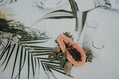 Elegant-Boho Palm Springs Wedding, Fresh Fruit Centerpieces