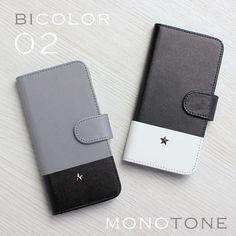 fd6e7c96bd 送料無料☆ バイカラー02 モノトーン2色 手帳型iPhoneケース(iPhone