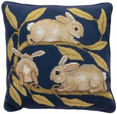 Needlepoint - Rabbits, by Beth Russell.  Set includes silk-screened canvas and Appleton fibres