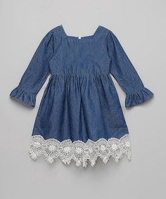 Another great find on #zulily! Vintage Lace Denim Dress - Infant, Toddler & Girls #zulilyfinds