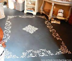 Easy DIY Fix: Concrete Floor Stencils Easy DIY Fix: Painted Floor Makeover & Remodeling using Concrete Floor Stencils from Royal Design Studio Decking on the . Painted Cement Floors, Stencil Concrete, Painting Cement, Painted Rug, Painted Furniture, Concrete Lamp, Kid Furniture, Stained Concrete, Concrete Furniture