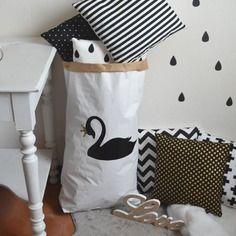 Paper bag storage sac papier rangement cygne noir et blanc