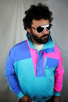Vintage 80s Rainbow Neon Windbreaker Ski Sweatshirt Jacket. $48.00, via Etsy.