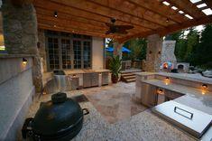Green Egg Outdoor Kitchen Landscape Tropical with Boulders Hot Tub Landscape