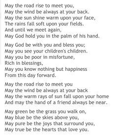Irish Blessing - I'd love to print this out on parchment paper, and frame it!