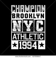 Brooklyn Vintage Denim print for t-shirt or apparel. Old school vector graphic for fashion and printing. Retro artwork and typography.Baseball emblem.