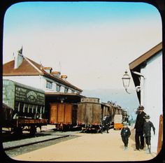 COLOUR Glass Magic Lantern Slide A RAILWAY STATION C1890 SWITZERLAND .