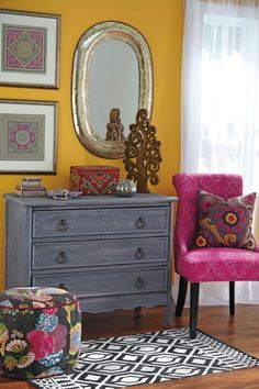 Pretty love the distressed dresser. Maybe chalk paint?