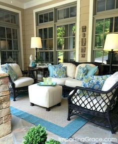 Imparting Grace: Front porch update and tips for choosing outdoor fabric - Modern Outdoor Rooms, Outdoor Living, Outdoor Furniture Sets, Outdoor Decor, Outdoor Fabric, Furniture Ideas, Backyard Furniture, Furniture Online, Screened In Porch Furniture