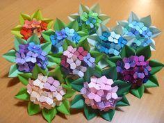折り紙 紫陽花