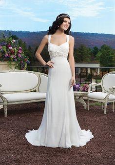 Brautkleid in Elfenbein und Silber aus Chiffon mit einem geraden V-Ausschnitt im A-Linien Stil - von Sincerity