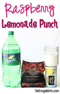 Raspberry Lemonade Punch Recipe at such a delicious Party Punch that everyone will love Limoncello Cocktails, Smoothies, Smoothie Drinks, Ginger Ale, Refreshing Drinks, Summer Drinks, Party Drinks, Fun Drinks, Fruity Drinks