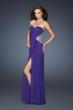 Cheap Strapless Open Slit Modest Purple Full Length Sexy Prom Dresses