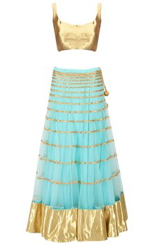 Turquoise blue gota line embroidered lehenga set available only at Pernia's Pop-Up Shop.