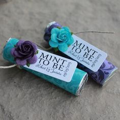 Teal and purple wedding favors personalized by BabyEssentialsByMel