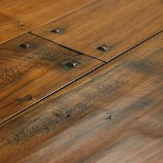I love this look! Hand scraped walnut wide plank floors with pegs #HSN #HouseBeautiful