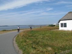 cycling to harbour on Veno, Denmark