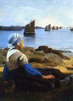 Awaiting his return  Edward Simmons,1884  #american #impressionism