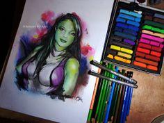 She Hulk (custom art for a client) by: Roxana Barahona Oliva https://www.facebook.com/roxanaboarts #marvel #drawing #comics #she_hulk #girl #green #facebook #colors #pencil #dibujos #tiza