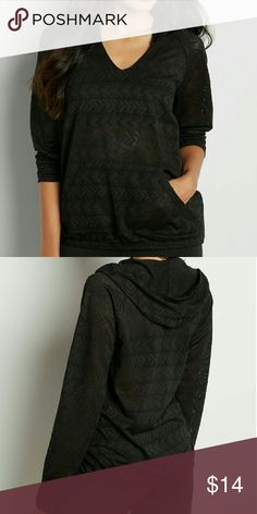 hooded pullover with open chevron design fabric with open chevron design unlined, needs layering hooded functional pocket long sleeves elastic banded bottom hem Maurices Tops Sweatshirts & Hoodies