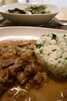 Beef Stroganoff - I had leftover steak to use up so I skipped putting raw steak in the crockpot and just put the rest of the ingredients in the slow cooker for 2 hours on high.  Added cooked noodles and the sour cream right before serving.  Delicious!!!