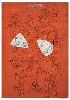 意大利插畫家 Federico Babina 將世界著名雕塑畫成了簡筆劃 » ㄇㄞˋ點子