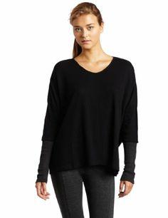 $34.95 awesome HKNB Heidi Klum for New Balance Women's Oversized Long Sleeve V-Neck Thermal Top