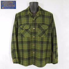 Vtg 60s PENDLETON Green Black Plaid Wool Loop Collar Flap Pockets Board  Shirt M  Pendleton 3b3e78ed20c4