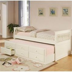 Coaster La Salle Daybed with Trundle and Storage Drawers in White