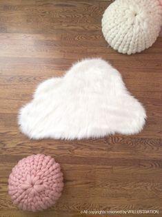 White Faux Cloud Shag Rug Decorative Nursery Rug Cozy fur Bedroom rug Handmade Faux Cloud Shape rug All Sizes