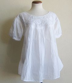 Cotton Gauze Mexican Embroidered Peasant Blouse