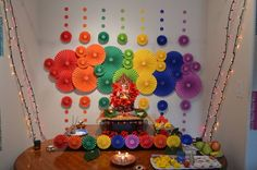 Ideas To Get Your Kids Involved This Ganesh Chaturthi is part of Diwali decorations - Ganesh Chaturthi is one of the most celebrated festivals in Maharashtra Involving the young ones in the festival will make them understand it better Gauri Decoration, Mandir Decoration, Ganapati Decoration, Kalash Decoration, Diy Decoration, Diwali Decorations At Home, Paper Decorations, Flower Decorations, Ganpati Decoration Design