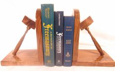 Handmade bookends - this is walnut wood and the books are part of my personal library. This makes a great gift! Masonic Gifts, Personal Library, Walnut Wood, Making Out, Bookends, Solid Wood, Great Gifts, How To Make, Handmade