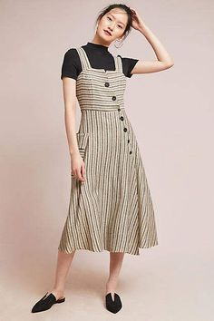 f8498691a77 Eva Franco Striped Utility Midi Dress. After immigrating to the United  States, Hungarian designer