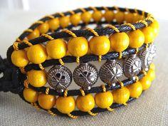 Handmade beaded cuff bracelet, Yellow wood beads cuff bracelet, Friendship bracelet, Tribal bracelet, Beaded macrame bracelet, Gifts for her