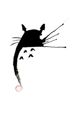 Zen Totoro Art Print. Would make a great start for a Ghibli inspired tattoo piece!