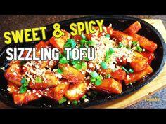 Sweet and Spicy Sizzling Tofu   Sizzling Tofu Recipe - YouTube Tofu Recipes, Healthy Recipes, Extra Firm Tofu, Sweet And Spicy, Ethnic Recipes, Youtube, Food, Firm Tofu Recipes, Essen