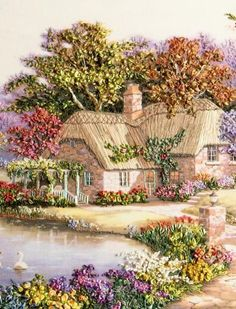 Sung Kim Swan Cottage I painting for sale, this painting is available as handmade reproduction. Shop for Sung Kim Swan Cottage I painting and frame at a discount of off. Thomas Kinkade, Belle Image Nature, Penny Parker, Cottage Art, Cottage Gardens, Rose Cottage, Ribbon Art, Silk Ribbon Embroidery, Embroidery 3d