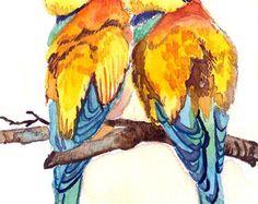ACEO Limited Edition 1/25-un par de devorador de abejas, impresión del arte del pájaro de una acuarela ACEO por Anna Lee, regalo para los amantes de la aves